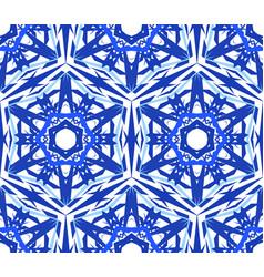 Kaleidoscopic pattern blue star flower vector