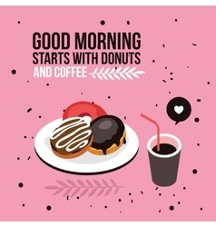 Perfect breakfast Donuts Coffee background Modern vector image vector image