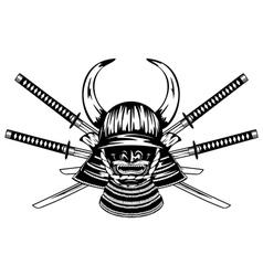 samurai helmet and crossed katanas vector image vector image