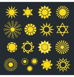 Set of Abstract Yellow Sun Icons with Various Rays vector image