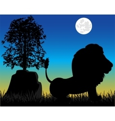 Silhouette lion on nature vector image vector image