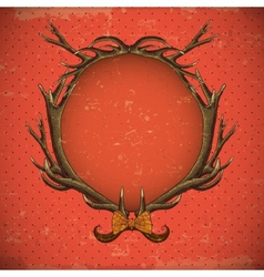 Vintage roses card with deer antlers vector image