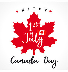 1 st july canada day lettering on maple leaf vector image