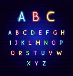 abc neon alphabet vector image