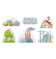 air pollution source pm 25 dust dirty vector image