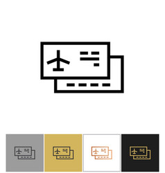 airplane ticket icon airliner travel ticket or vector image