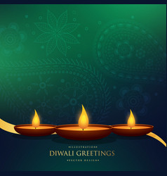 amazing happy diwali festival greeting background vector image