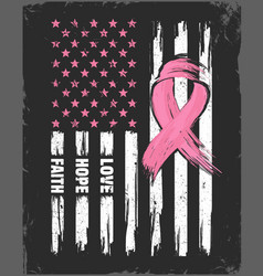 American flag with pink ribbon breast cancer vector