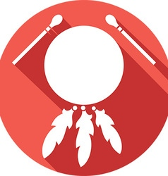 American Indian Drum and Sticks Icon vector