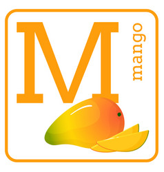An alphabet with cute fruits letter m mango vector