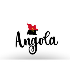 Angola country big text with flag inside map vector