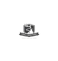 animal category for shield park logo design vector image
