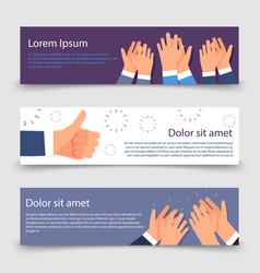 applause flat banners template with clapping hands vector image