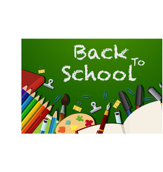 back to school poster design with stationeries vector image