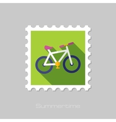 Bicycle flat stamp with long shadow vector image