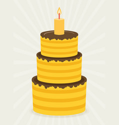 birthday cake sweet cupcakes cartoon flat design vector image