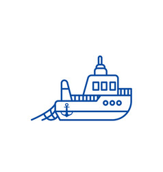 boat fishing line icon concept boat fishing flat vector image