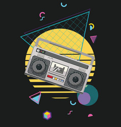 boombox retro style poster vector image