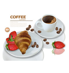 breakfast coffee and croissant realistic vector image
