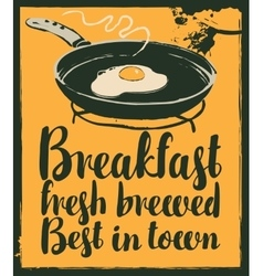 Breakfast with a frying pan and fried eggs vector