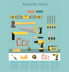 Building tools website template for store vector