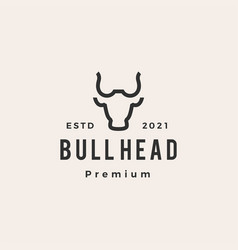 bull head hipster vintage logo icon vector image
