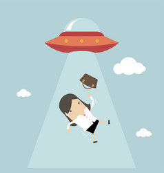 businesswoman abducted by ufo vector image