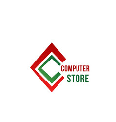 c letter icon for computer store vector image