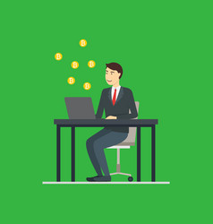 cartoon blockchain concept with business man vector image
