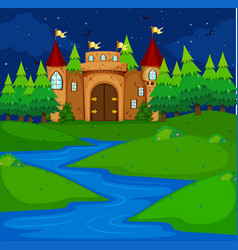 Castle tower in the field at night time vector