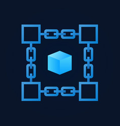 Chain with blue cube inside icon vector