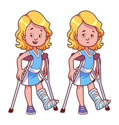 Cheerful and sad girl with a broken leg in a cast vector image