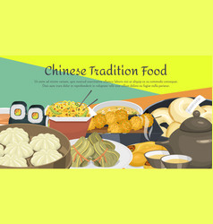 chinese street restaurant or homemade food ethnic vector image