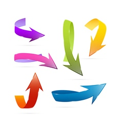 Colorful 3d Arrows Set Isolated on White vector image