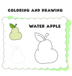 Coloring and drawing book element water apple vector