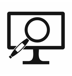 Computer monitor magnifying glass icon vector image