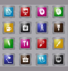 creative process glass icons set vector image
