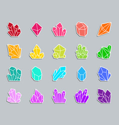 Crystal patch sticker icons set vector