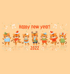 Cute baby tigers party light background vector