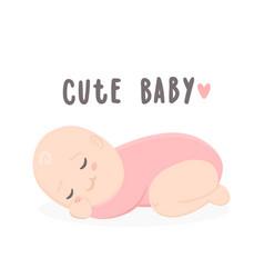 cute bagirl sleeping vector image