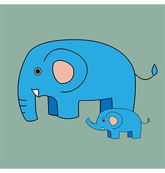Cute elephant cartoon and baby elephant vector image