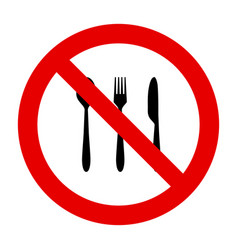 Cutlery and prohibition sign vector