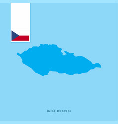 Czech republic country map with flag over blue vector