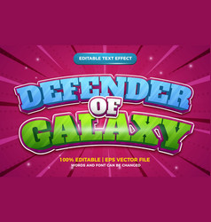 Defender galaxy cartoon comic 3d editable text vector