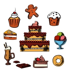 Desserts with cake and confectionery vector