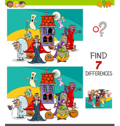 differences game with spooky halloween characters vector image