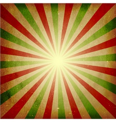 Distressed green red light burst background vector image