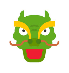 Dragon dance head chinese lunar new year flat vector