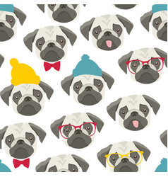 endless pattern with pugs on white background vector image