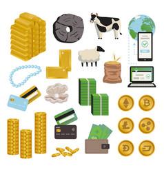 Evolution money icon set vector